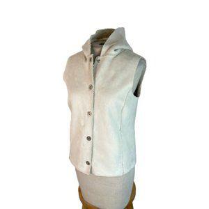 Jones New York Faux Fleece Lined Camel Vest Hooded